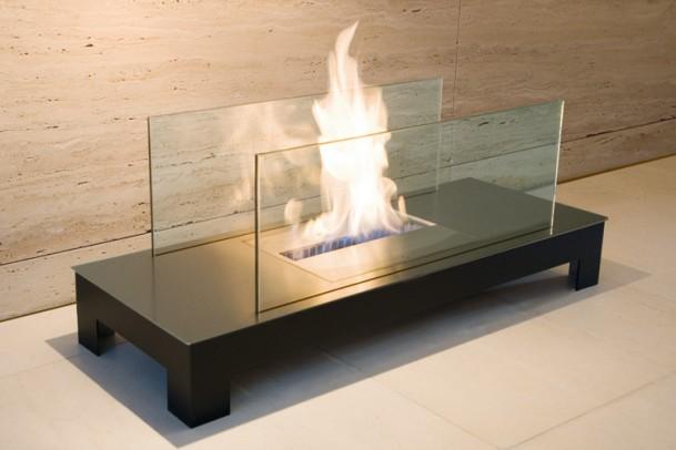 Ethanol-Kamin Floor-Flame Oberfläche: gebürstet / Korpus: weiß