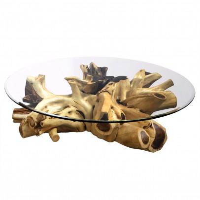 Couchtisch Suar-Wurzel mit Glasplatte