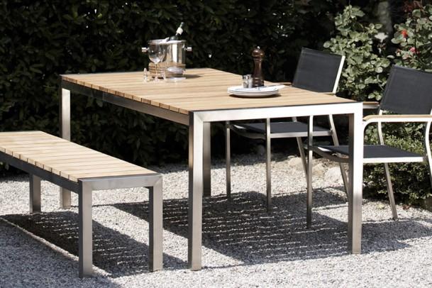 Tisch Luxury mit Teakholz-Platte
