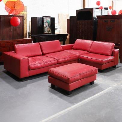 Ledersofa Garnitur Long Beach Oxblood -20%