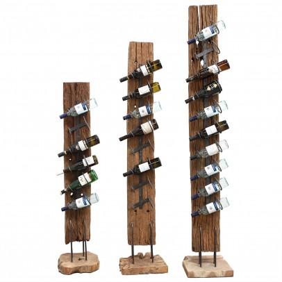 Weinständer aus antiken Dachbalken