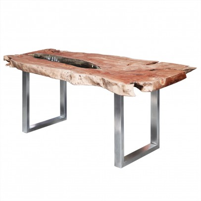 Litschi Baumscheibentisch mit Glaseinlage, Stahlgestell