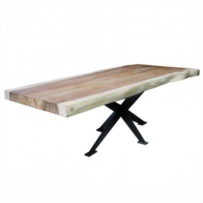 Suar-Baumscheibentisch auf Stahlgestell