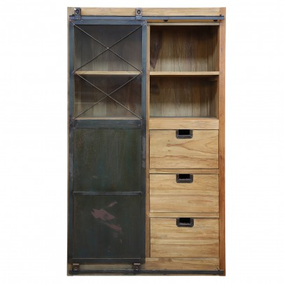 Teak Vitrinen-Highboard Donny