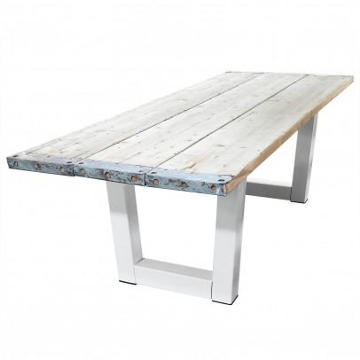 Esstisch weiß aus Baugerüstbohlen