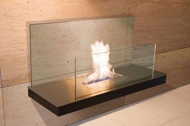 Ethanol-Kamin Wall Flame I Oberfläche: gebürstet / Korpus: weiß